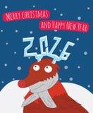 Nowy Rok i Wesoło kartki bożonarodzeniowa ilustracja Ilustracja Wektor