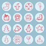 Nowy rok ikon mieszkania round set royalty ilustracja