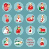 Nowy rok ikony płaska kózka royalty ilustracja