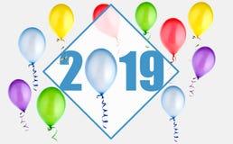 2019 nowy rok ilustracja z balonami zdjęcie royalty free