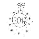 Nowy Rok 2017 ilustracja z Bożenarodzeniowymi zabawkami Ręka malująca Bożenarodzeniowa ilustracja Zdjęcie Royalty Free