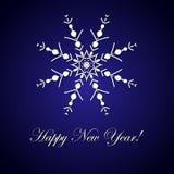 nowy rok, Inskrypcja i duży płatek śniegu wektorowa ilustracja na błękitnym tle Fotografia Royalty Free