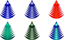 Nowy rok jedlinowych drzew zabawki ilustracja wektor