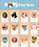 2018 nowy rok kalendarz z ślicznym i śmiesznym szczeniaków psów symbolu wektoru chińskim szablonem Obrazy Royalty Free