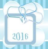 2016 nowy rok karciany projekt z abstrakcjonistycznymi mowa bąblami ustawiającymi Zdjęcia Stock