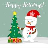 nowy rok karcianych bożych narodzeń komputerowy designe grafiki nowy rok Śliczny bałwan w Santa szaliku i kapeluszu dekoruje choi ilustracja wektor