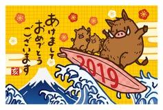 Nowy rok karta 2019 z dzikim knurem ilustracji