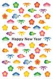 Nowy rok karta z Japońskim tradycyjnym projektem Zdjęcie Royalty Free