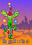 Nowy Rok karta z kaktusem Zdjęcia Stock