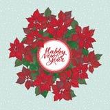 Nowy rok karta z literowaniem i boże narodzenia gramy główna rolę kwiatu wzór na błękitnym śnieżnym tle royalty ilustracja