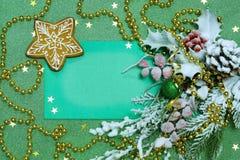 Nowy Rok karta z miodownikiem Zielony tło Obrazy Royalty Free