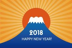 Nowy Rok karta z Mt fuji Obraz Royalty Free