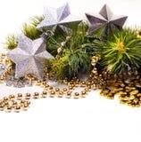 Nowy rok karta z pięknymi gwiazdami Obraz Stock