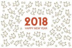 2018 nowy rok karta z psem Obrazy Royalty Free
