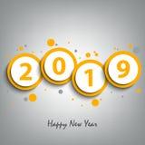 Nowy Rok karta z round pointerami w żółtym projekcie royalty ilustracja