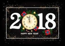 2018 nowy rok karta z zegarem, prezenta pudełko, confetti, cukierek trzcina, Zdjęcia Stock