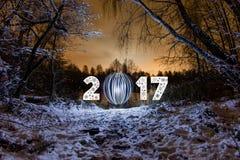 2017 nowy rok kartka z pozdrowieniami z noc lasem Zdjęcie Stock