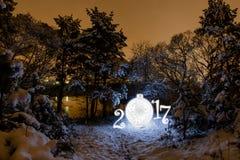 2017 nowy rok kartka z pozdrowieniami z noc lasem Zdjęcie Royalty Free