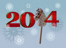 Nowy Rok koński 2014 rocznika backgrond Zdjęcia Stock