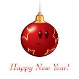 Nowy Rok kreskówki Bożenarodzeniowa piłka Obraz Stock