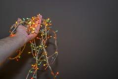 Nowy Rok lampy w ręce obraz royalty free