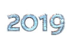 2019 nowy rok liczebnika lód na białym odosobnionym tle - ludzki charakter - 3d rend ilustracji