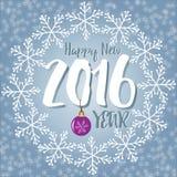 Nowy rok listy zakrywający z płatkami śniegu na śnieżnym tle royalty ilustracja