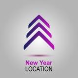 Nowy Rok lokacja Wektorowy zaproszenie z choinką wesołych Świąt, nowego roku karty Zdjęcie Royalty Free