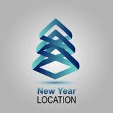 Nowy Rok lokacja Wektorowy zaproszenie z choinką wesołych Świąt, nowego roku karty Zdjęcia Stock