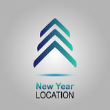 Nowy Rok lokacja Wektorowy zaproszenie z choinką wesołych Świąt, nowego roku karty Obraz Stock