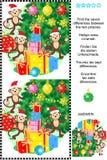 Nowy Rok lub boże narodzenia znajdujemy różnica obrazka łamigłówkę Zdjęcia Royalty Free