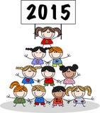 Nowy rok 2015 mieszał etnicznych dzieci Obraz Stock