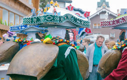 Nowy Rok Mummers &-x28; Silvesterchlausen&-x29; w Urnasch, Appenzell Zdjęcie Stock