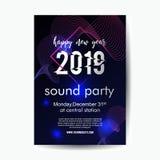 2019 nowy rok muzyki przyjęcia plakatowy szablon z neonową łuną ilustracji