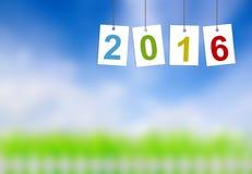 Nowy rok 2016 na etykietkach na naturze Fotografia Stock