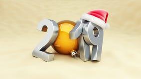 Nowy rok 2019 na plażowym Santa kapeluszu royalty ilustracja