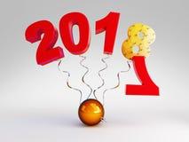 Nowy Rok 2018 na wiośnie na białej tła 3D ilustraci, 3D rendering Zdjęcie Stock