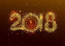 2018 nowy rok numerowi złoci confetti na ciemnym tle Zdjęcia Stock