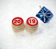Nowy rok 2019 od baryłek loteryjka Fotografia Royalty Free
