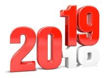 Nowy rok odpłaca się 2019 i 2018 czerwonych 3d Zdjęcia Royalty Free