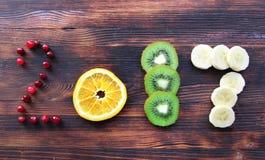 Nowy rok 2017 owoc i jagody Zdjęcia Royalty Free