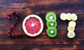 Nowy rok 2017 owoc i jagody Fotografia Stock
