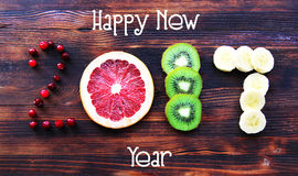 Nowy rok 2017 owoc i jagody, karta Zdjęcie Royalty Free