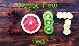 Nowy rok 2017 owoc i jagody, karta Zdjęcia Royalty Free