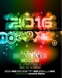2016 nowy rok Partyjna ulotka dla Świetlicowych Muzycznych nocy specjalnych wydarzeń ilustracji