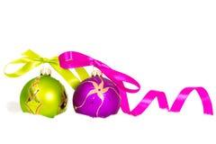 Nowy rok piłki na śniegu Obrazy Stock