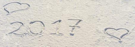 2017 nowy rok pisać w mące na drewnianym tle Obrazy Royalty Free