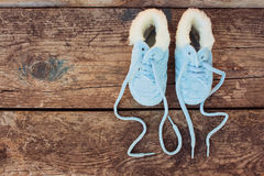 2017 nowy rok pisać koronki dziecka ` s buty Fotografia Royalty Free