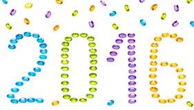 Nowy rok 2015 Placer kolorowi cenni kamienie Fotografia Royalty Free