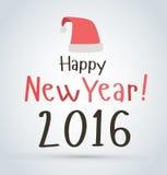 Nowy Rok plakat karty Santa czerwonego kapeluszu Zdjęcia Stock
